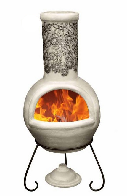 Flor Black and Beige Clay Chiminea By Gardeco - H110cm x D45cm