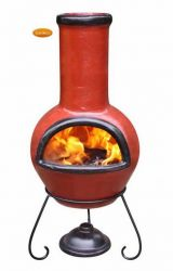 Colima Black and Cranberry Clay Chiminea By Gardeco