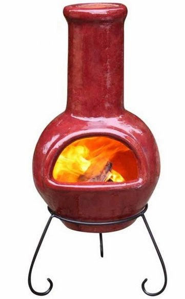 Colima Dark Red Glazed Clay Chimenea