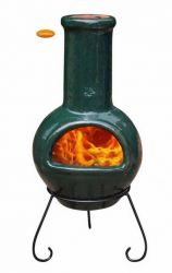 Colima Dark Green Glazed Clay Chiminea By Gardeco