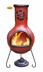 Rosas Black and Cranberry Chimenea By Gardeco - H125cm