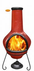 Tibor Red and Black Glazed Clay Chimenea By Gardeco