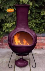 Colima Aubergine Clay Chiminea By Gardeco
