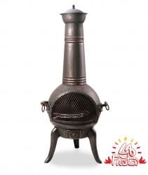 Large Bronze Cast Iron/Steel Chimenea H122 x W45 by La Fiesta