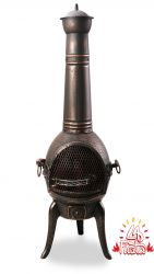 Santa Reno Medium Bronze Cast Iron/Steel Chimenea - H109cm x D42cm