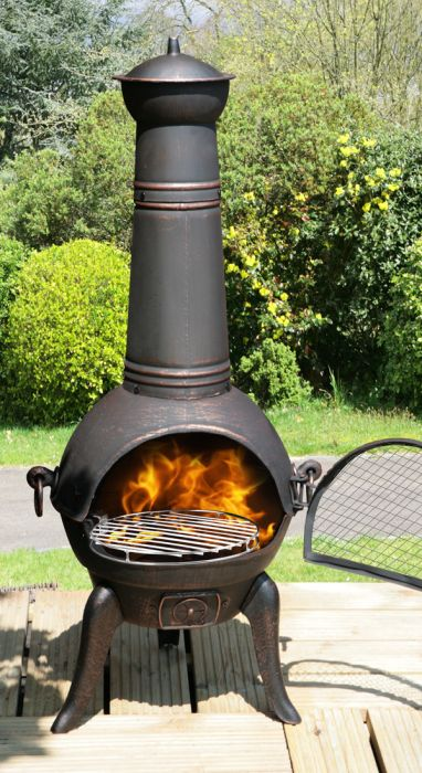 La Fiesta Medium Bronze Cast Iron/Steel Chimenea - H109cm x D42cm