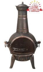 La Fiesta  Small Bronze Cast Iron/Steel Chimenea - H85cm x D40cm