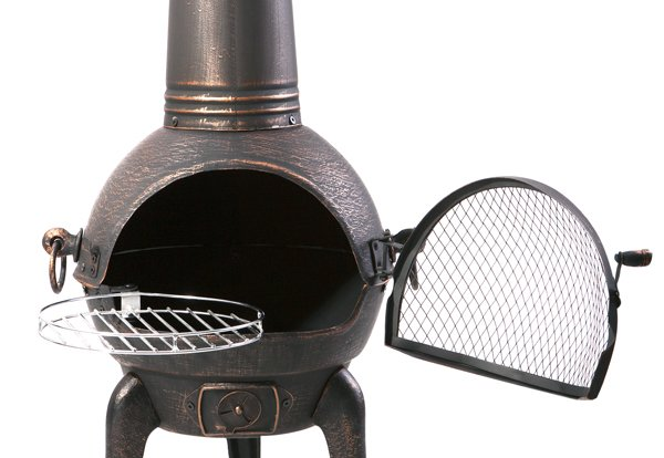 Santa Reno Small Bronze Cast Iron/Steel Chimenea - H85cm x D40cm