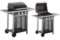 Ebony and Silver 3 Burner Gas BBQ H107cm x W113cm
