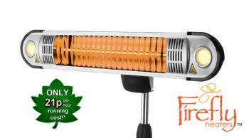 1.5kW Halogen Bulb Electric Infrared Heater with Easy Fit Wall Mount, Remote Control and Freestanding Pole by Firefly™