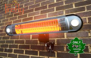 1.5kW IP55 Halogen Bulb Electric Infrared Heater with Easy Fit Wall Mount, Lights and Remote Control by Firefly™