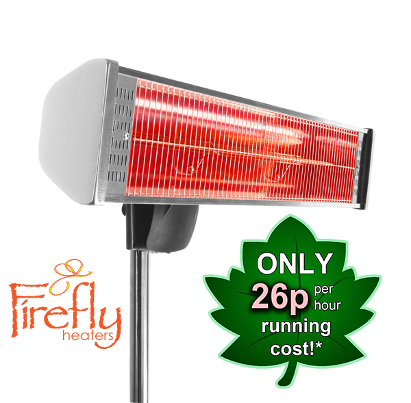 1.8kW IP55 Halogen Bulb Electric Infrared Heater with Remote Control, Easy Fit Wall Mount and Freestanding Pole by Firefly™