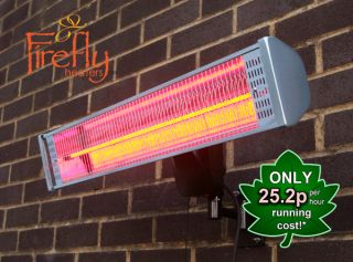 1.8kW IP55 Halogen Bulb Electric Infrared Heater with Remote Control and Easy Fit Wall Mount by Firefly™
