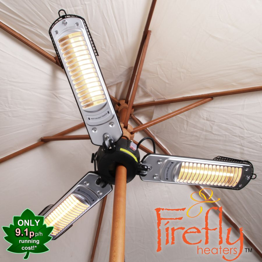 2kW IP34 Electric Quartz Bulb Parasol Patio Heater by Firefly™