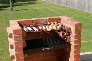 Black Knight Deluxe Brick Barbecue Kit with Stainless Steel Grill