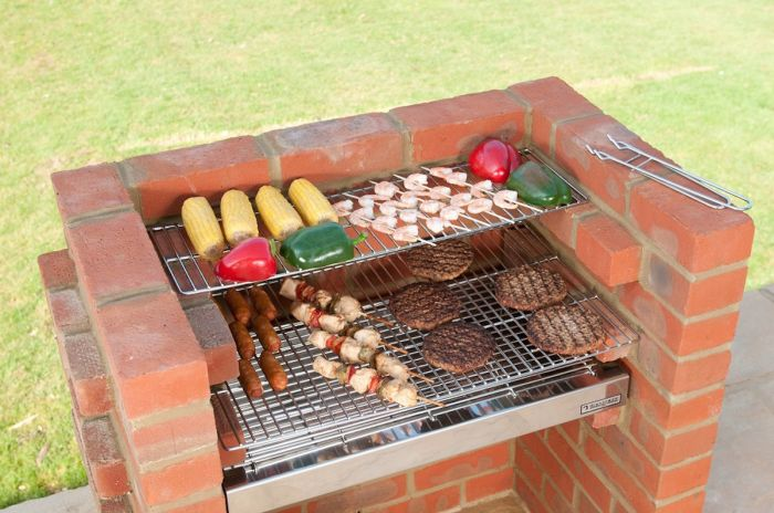 Black Knight Deluxe Brick Barbecue Kit with Stainless Steel Grill and Warming Rack