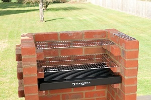 Black Knight Deluxe Brick Barbecue Kit with Chrome Grill and Warming Rack
