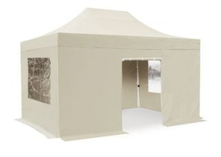 Hybrid Plus 3m x 4.5m Foldable Pop Up Steel/Aluminium Gazebo Set In Sand - Complete With Carry Bag
