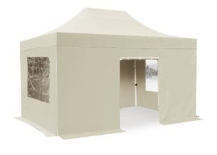 Hybrid 3m x 4.5m Foldable Pop Up Steel/Aluminium Gazebo Set In Sand - Complete With Carry Bag