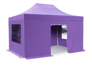 Hybrid Plus 3m x 4.5m Foldable Pop Up Steel/Aluminium Gazebo Set In Lilac - Complete With Carry Bag