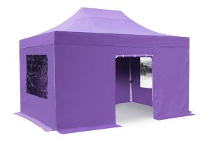Standard Plus 3m x 4.5 Foldable Pop Up Steel Gazebo Set In Lilac - Complete With Carry Bag