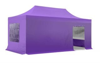 Hybrid 3m x 6m Pop Up Steel/Aluminium Gazebo Set - Lilac