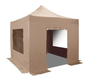 Hybrid Plus 3m x 3m Pop Up Steel/Aluminium Gazebo Set in Beige - Complete With Carry Bag