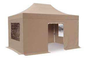 Standard 3m x 4.5m Foldable Pop Up Steel Gazebo Set In Beige - Complete With Carry Bag