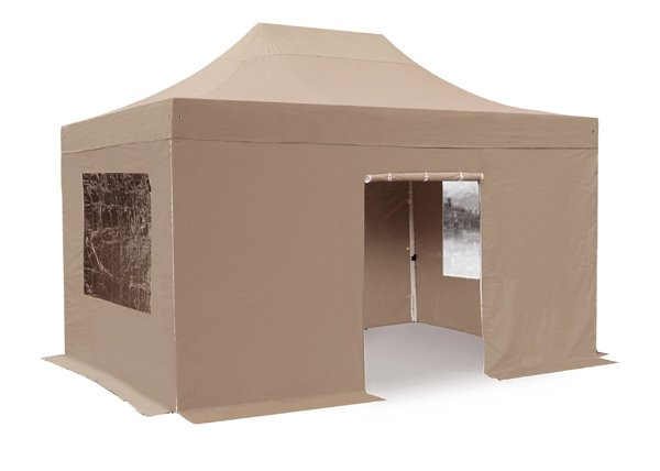 Hybrid Plus 3m x 4.5m Pop Up Steel/Aluminium Gazebo - Beige