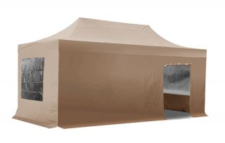 Hybrid 3m x 6m Pop Up Steel/Aluminium Gazebo Set - Beige