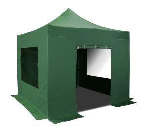 Hybrid Plus 3m x 3m Pop Up Steel/Aluminium Gazebo Set in Green - Complete With Carry Bag