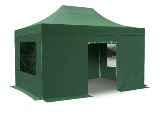 Hybrid Plus 3m x 4.5m Foldable Pop Up Steel/Aluminium Gazebo Set In Green - Complete With Carry Bag