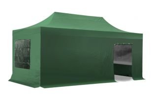 Hybrid Plus 3m x 6m Pop Up Steel/Aluminium Gazebo Set - Green