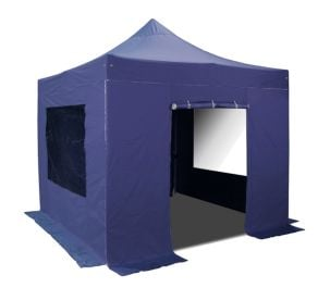 Hybrid Plus 3m x 3m Pop Up Steel/Aluminium Gazebo Set in Blue - Complete With Carry Bag