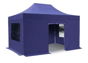 Hybrid 3m x 4.5m Foldable Pop Up Steel/Aluminium Gazebo Set In Blue - Complete With Carry Bag