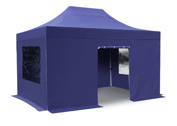 Standard 3m x 4.5m Foldable Pop Up Gazebo Set In Blue - Complete With Carry Bag