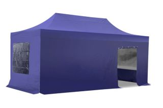 Hybrid Plus 3m x 6m Pop Up Steel/Aluminium Gazebo Set - Blue