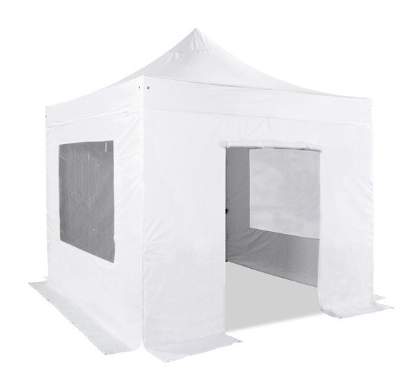 Standard plus 3m x 3m Pop Up Steel Gazebo Set in White - Complete With Carry Bag