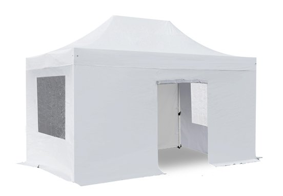 Standard 3m x 4.5m Foldable Pop Up Gazebo Set In White - Complete With Carry Bag