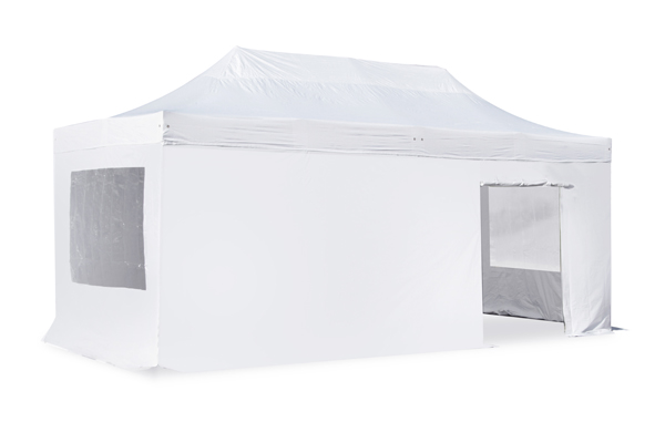 Hybrid 3m x 6m Pop Up Steel/Aluminium Gazebo Set - White