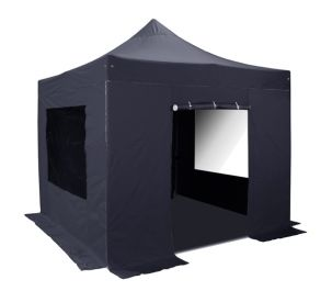 Standard Plus 3m x 3m Pup Up Steel Gazebo Set in Black - Complete With Carry Bag