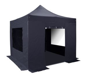 Hybrid Plus 3m x 3m Pop Up Steel/Aluminium Gazebo Set in Black - Complete With Carry Bag