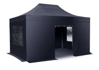 Hybrid Plus 3m x 4.5m Foldable Pop Up Steel/Aluminium Gazebo Set In Black - Complete With Carry Bag
