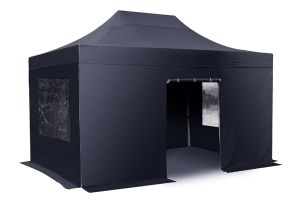 Standard 3m x 4.5m Foldable Pop Up Gazebo Set - Black