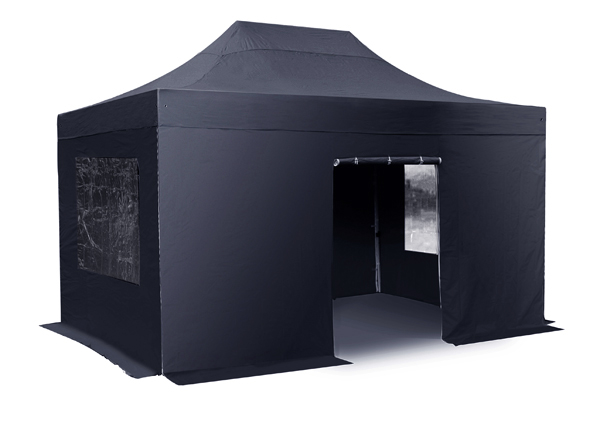 Hybrid 3m x 4.5m Foldable Pop Up Steel/Aluminium Gazebo Set In Black - Complete With Carry Bag