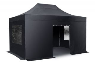 Hybrid Plus 3m x 6m Pop Up Steel/Aluminium Gazebo Set - Black