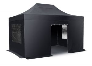 Hybrid 3m x 6m Pop Up Steel/Aluminium Gazebo Set - Black