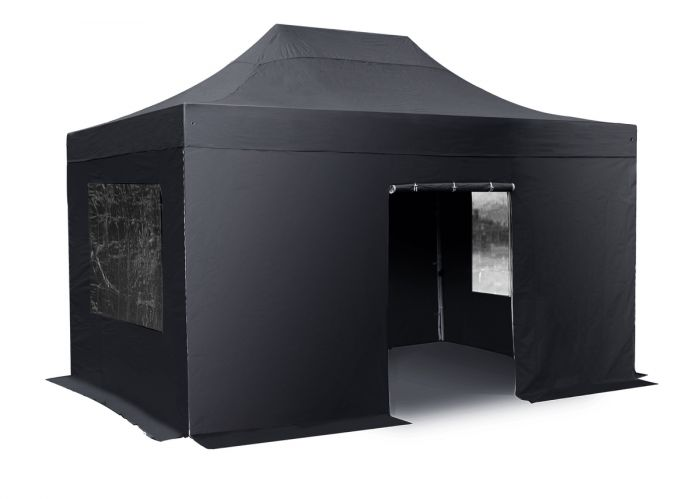 Standard 3m x 6m Foldable Pop Up Gazebo Set - Black