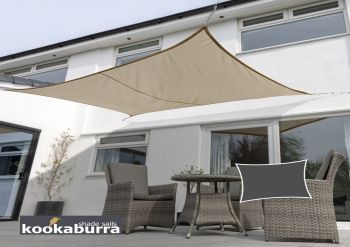 Kookaburra 5mx4m Rectangle Mocha Brown Waterproof Woven Shade Sail