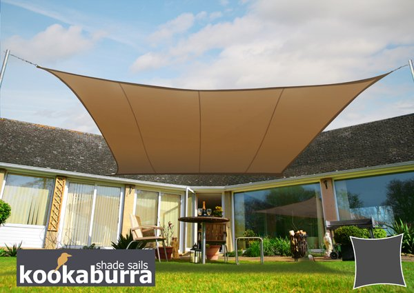 Kookaburra® 5.4m Square Mocha Waterproof Woven Shade Sail